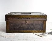 Vintage Rustic Metal Box / Industrial Storage / Cash Box