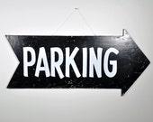 Vintage Large Parking Arrow Sign / Wood Sign / Parking Sign