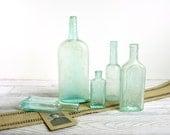 Vintage Glass Bottle Collection / Aqua Glass Bottles