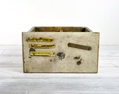 Vintage Industrial Wood Drawer / Painted Wood Shop Drawer / Industrial Storage