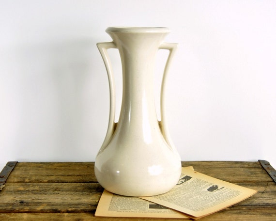Vintage White Mccoy Pottery Vase By Havenvintage On Etsy