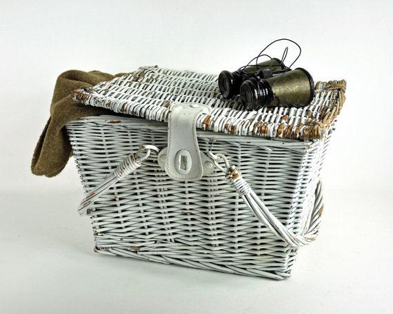 Vintage White Wicker Basket
