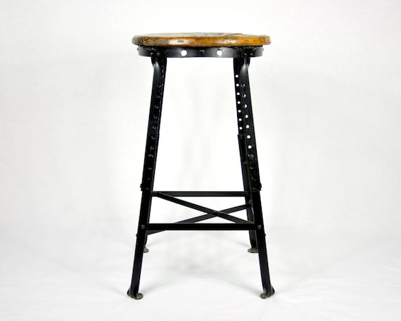 Vintage Industrial Oak & Metal Stool