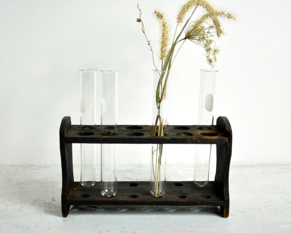 Vintage Wood Chemistry Test Tube Rack