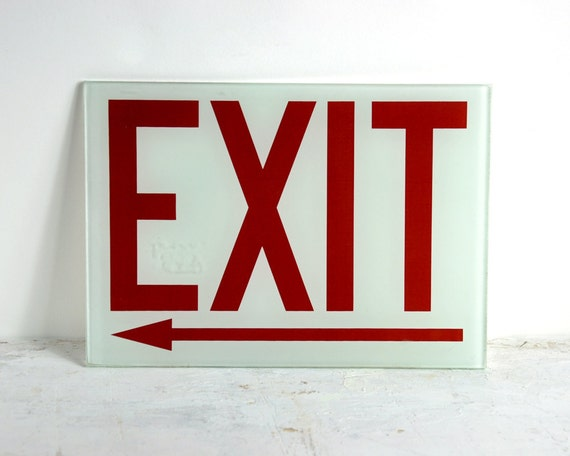 Vintage Glass Exit Sign By Havenvintage On Etsy