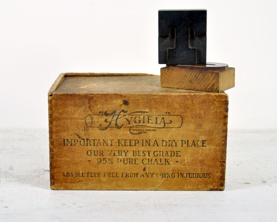 Antique Rustic Wood Box With Sliding Lid