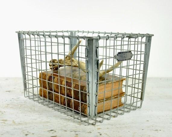 Vintage Metal Locker Basket / Industrial Storage