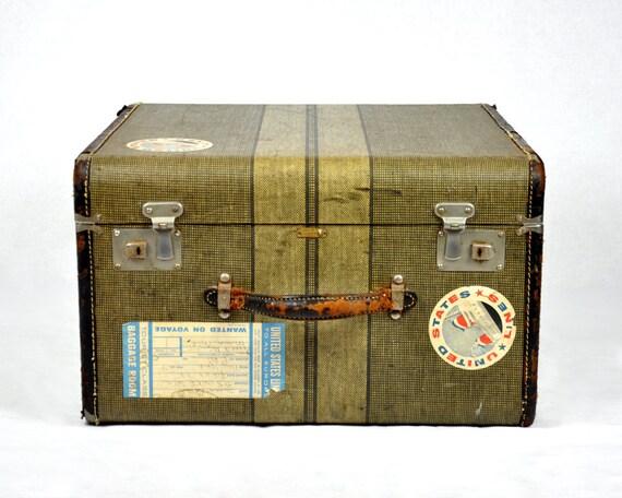 RESERVED - Vintage Tweed Striped Suitcase