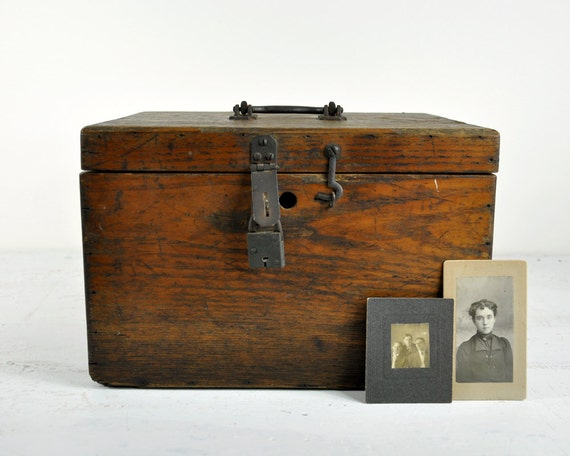Antique Wood Box / Industrial Decor