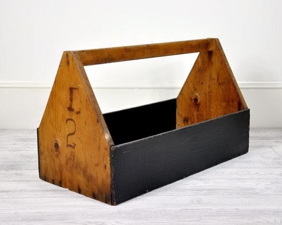 Antique Extra Large Wood Tote /  Industrial Decor