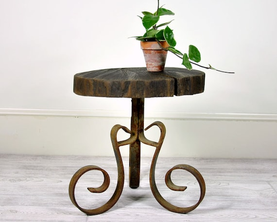 Vintage Metal and Wood Table or Stool / Industrial Decor