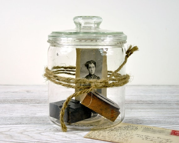RESERVED - Vintage Glass Jar / Glass Storage Container