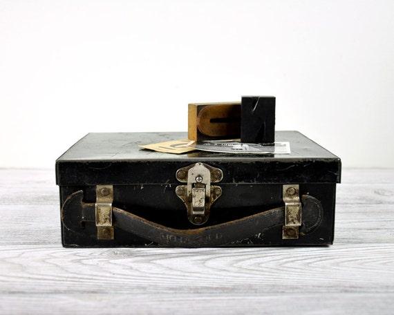 Vintage Rustic Metal Box / Industrial Storage