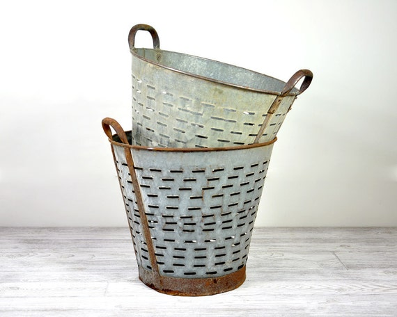 Vintage Large Metal Olive Basket / Industrial Decor