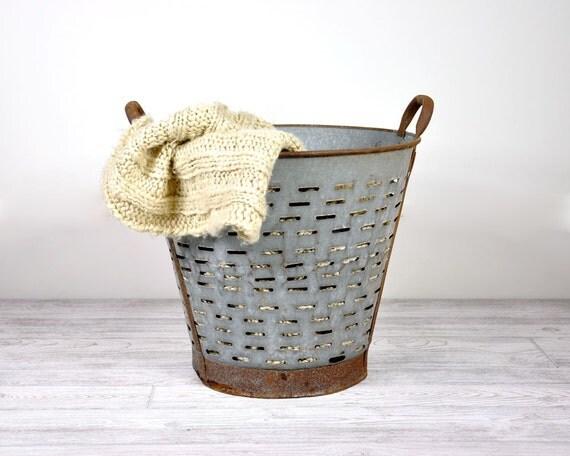 Vintage Large Metal Olive Basket / Industrial Decor