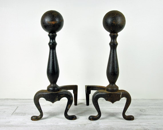 Vintage Pair of Andirons / Cast Iron Andirons