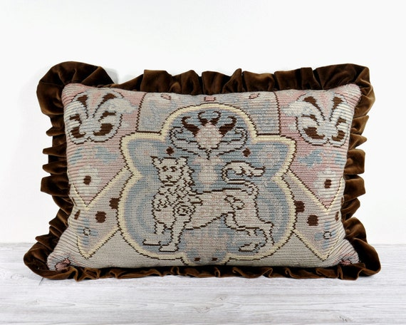RESERVED - Vintage Pillow / Shabby Chic Pillow / Tapestry Pillow