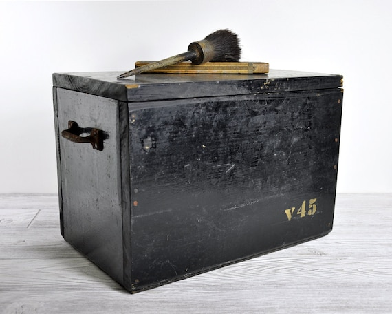 Vintage Hand Made Industrial Wood Chest / Industrial Storage / Wooden Box