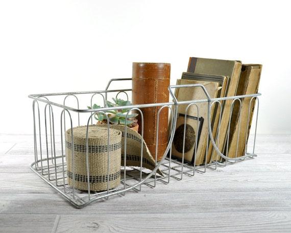 Vintage Industrial Metal Basket / Wire Basket