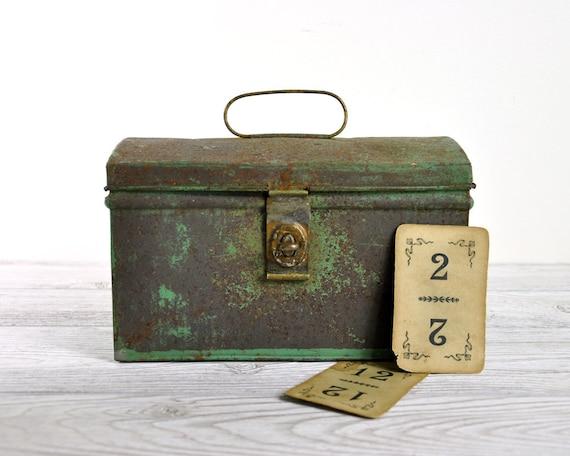 Vintage Rustic Storage Tin / Aqua Tin Box / Industrial Storage