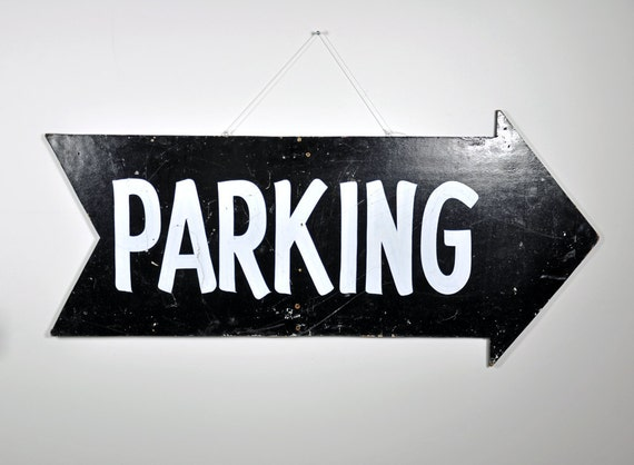 Vintage Large Parking Arrow Sign / Wood Sign / Parking Sign