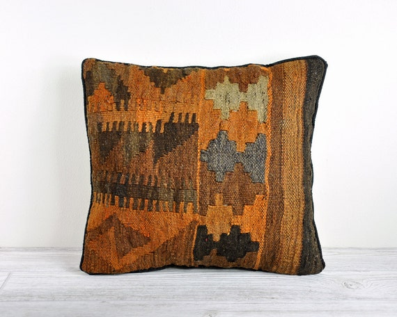 Vintage Kilim Rug Fragment Pillow / Decorative Pillow
