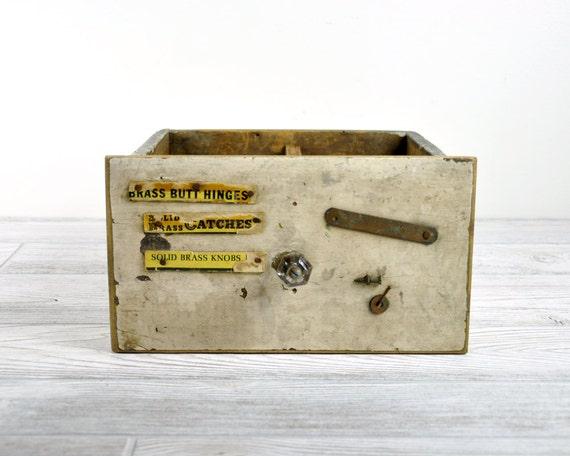 Vintage Industrial Wood Drawer / Painted Wood Shop Drawer / Industrial Storage
