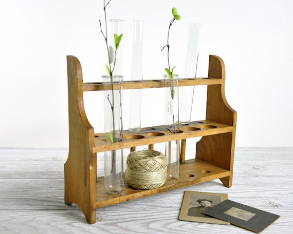 Vintage Chemistry Test Tube Rack / Wood Test Tube Rack