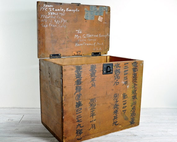 RESERVED - Vintage Industrial Wood Crate / Industrial Storage / Asian Shipping Crate