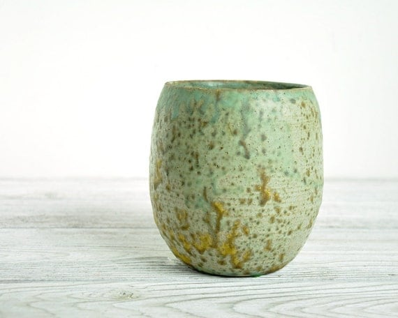 Vintage Pottery Vase / Arts and Crafts / Art Pottery / Splatter Glaze / Handmade Pottery