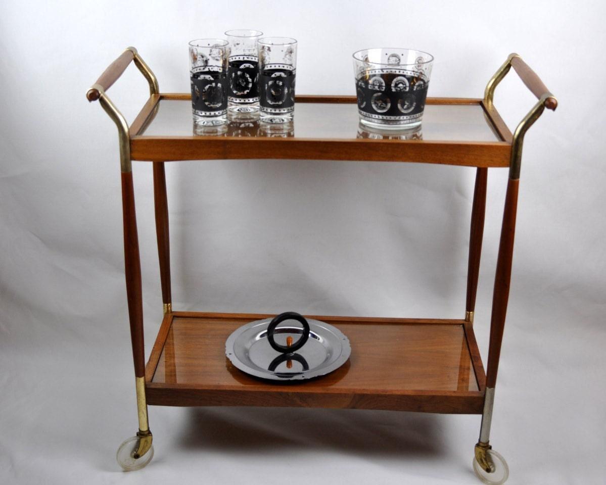 vintage mid century bar cart with casters. Black Bedroom Furniture Sets. Home Design Ideas