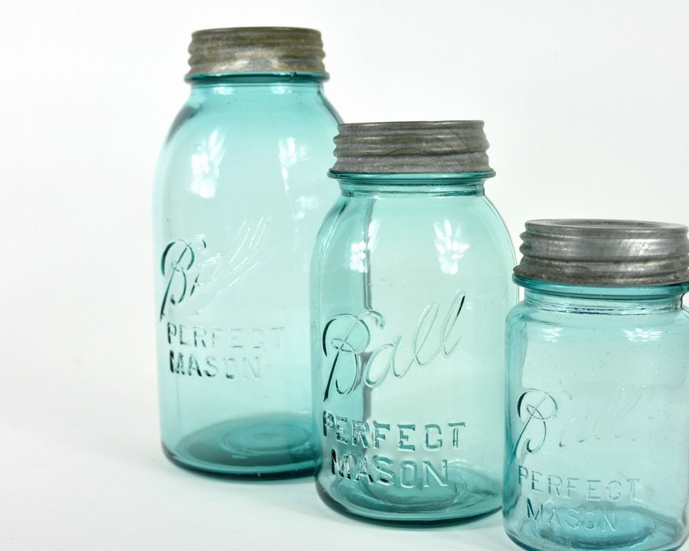 Vintage Mason Ball Jars Glass Storage Jars Turquoise