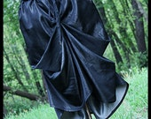 Black Bustle Skirt with Pockets