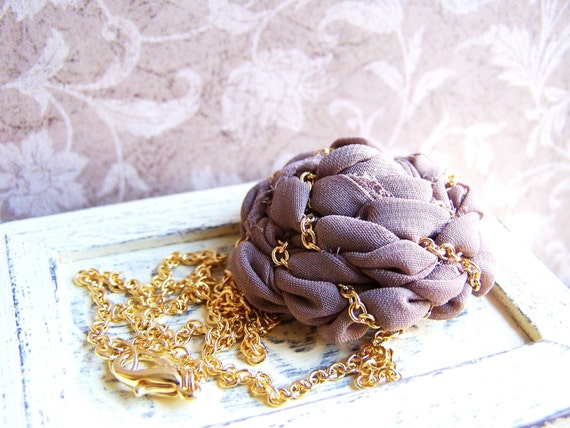 Taupe Morning/ Fabric rosette statement necklace