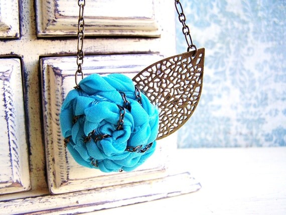 RESERVED for Alicia/ Lady in Teal/ Fabric flower rosette statement necklace