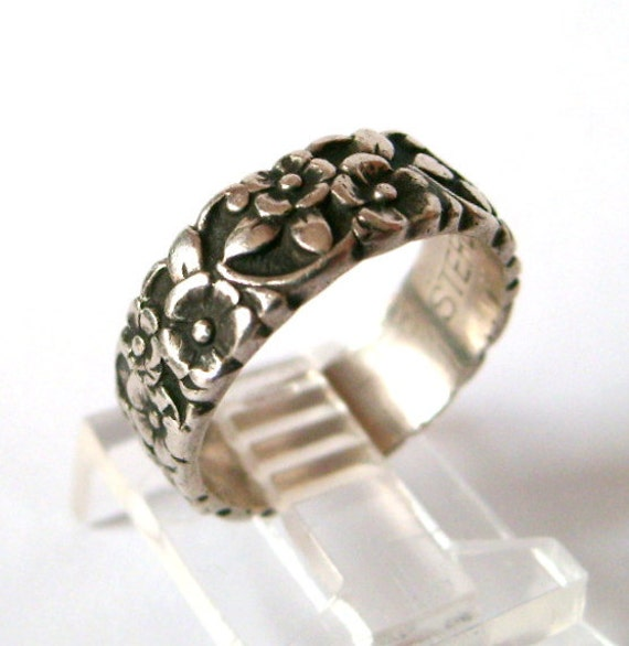 antique sterling silver floral wedding band flowers ring