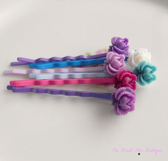 Colorful Ruffled Rose Bobby Pins -Set of Six-