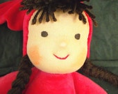 """Red  Waldorf Doll Soft 14"""" Ready to ship"""