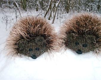 Made to Order Hand Knit Brown Hedgehog Mittens Gloves Children Warm