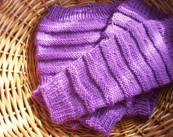 Hand Knitted Wool Cloth Diaper Cover Soaker with matching Leg Warmers Wool Diaper  Wool Nappy Cover Baby Diaper size Large READY TO SHIP