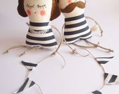 Couple of Old fashioned mobile Man and his Wife with garland  - Handmade in Italy -