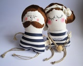 1920 retro Couple Old fashioned Man and his Fragrant Wife - Handmade in Italy