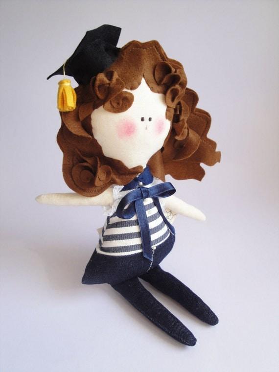 HAPPY GRADUATION Doll - child friendly cotton and felt kids Doll - handmade in Italy -
