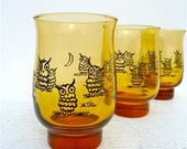 Vintage M. Dia Owl and Moon Amber Drinking Glasses Set of 6