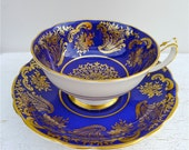 Vintage Paragon Double Warrant Cobalt Blue and Gold Tea Cup and Saucer