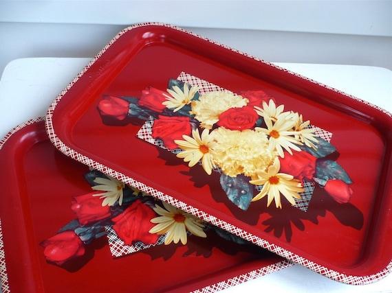 Vintage Red Floral Metal Serving Trays Pair