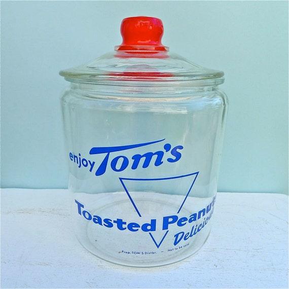 VIntage Tom's Glass Peanut Jar With Lid 1960's