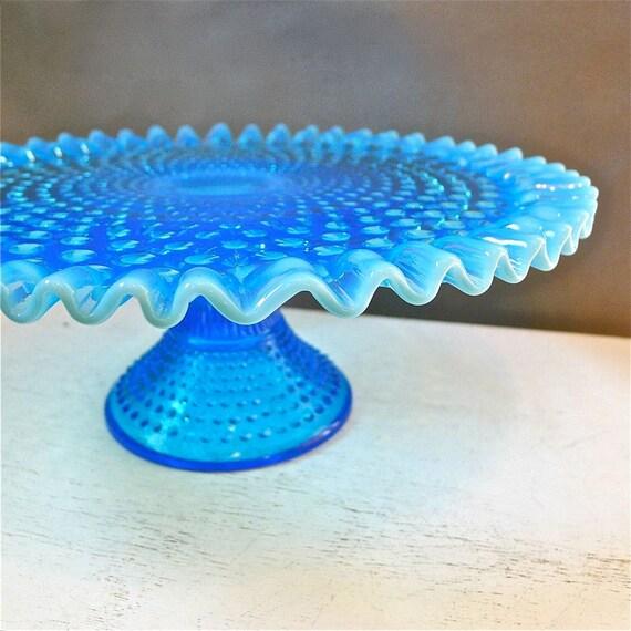 Vintage Fenton Blue Opalesecent Hobnail Cake Pedestal Stand