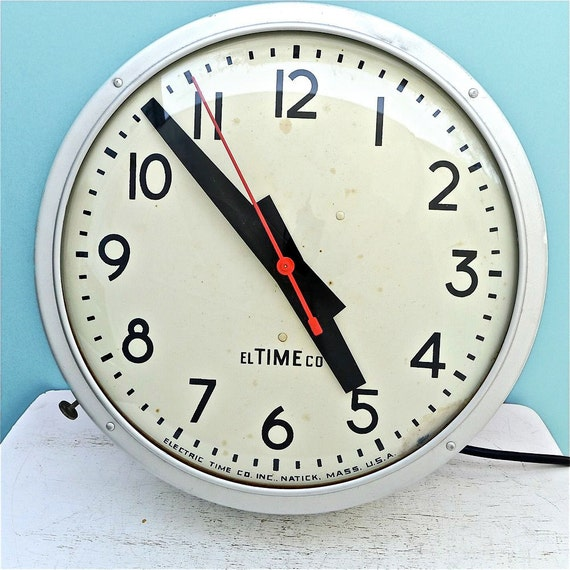 Vintage 1960's Industrial Wall Clock School Style