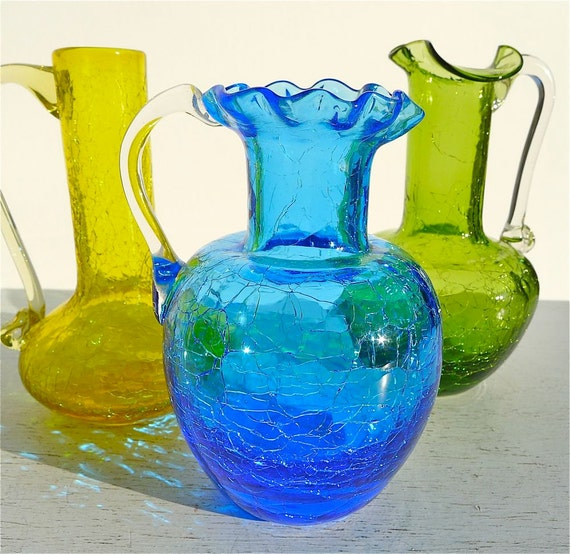 Vintage Crackle Glass Pitcher Collection of 3